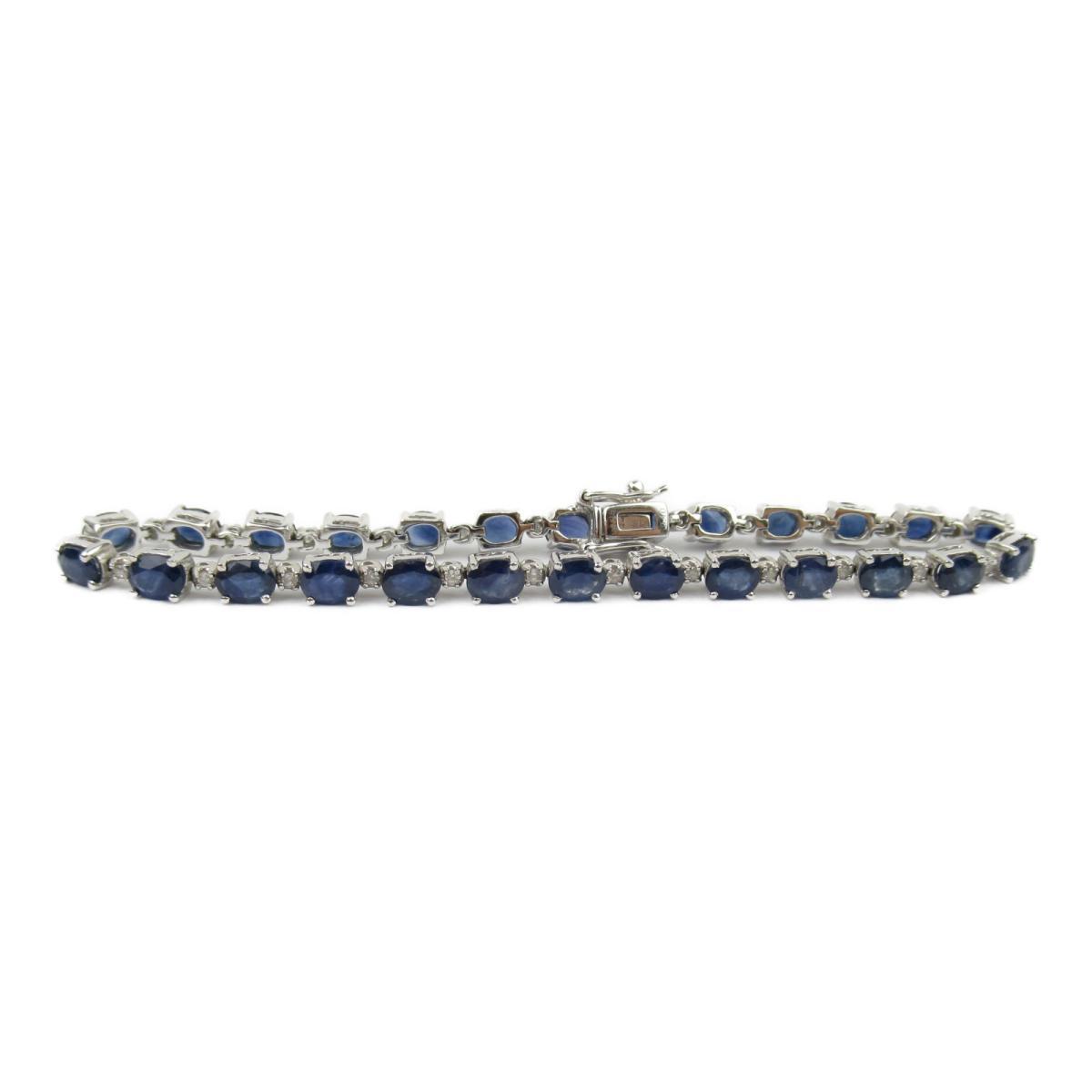 ジュエリー サファイア ダイヤモンド ブレスレット ノーブランドジュエリー レディース K18WG (750) ホワイトゴールド x サファイア9.40/ダイヤモンド0.25ct 【中古】 | ブランド