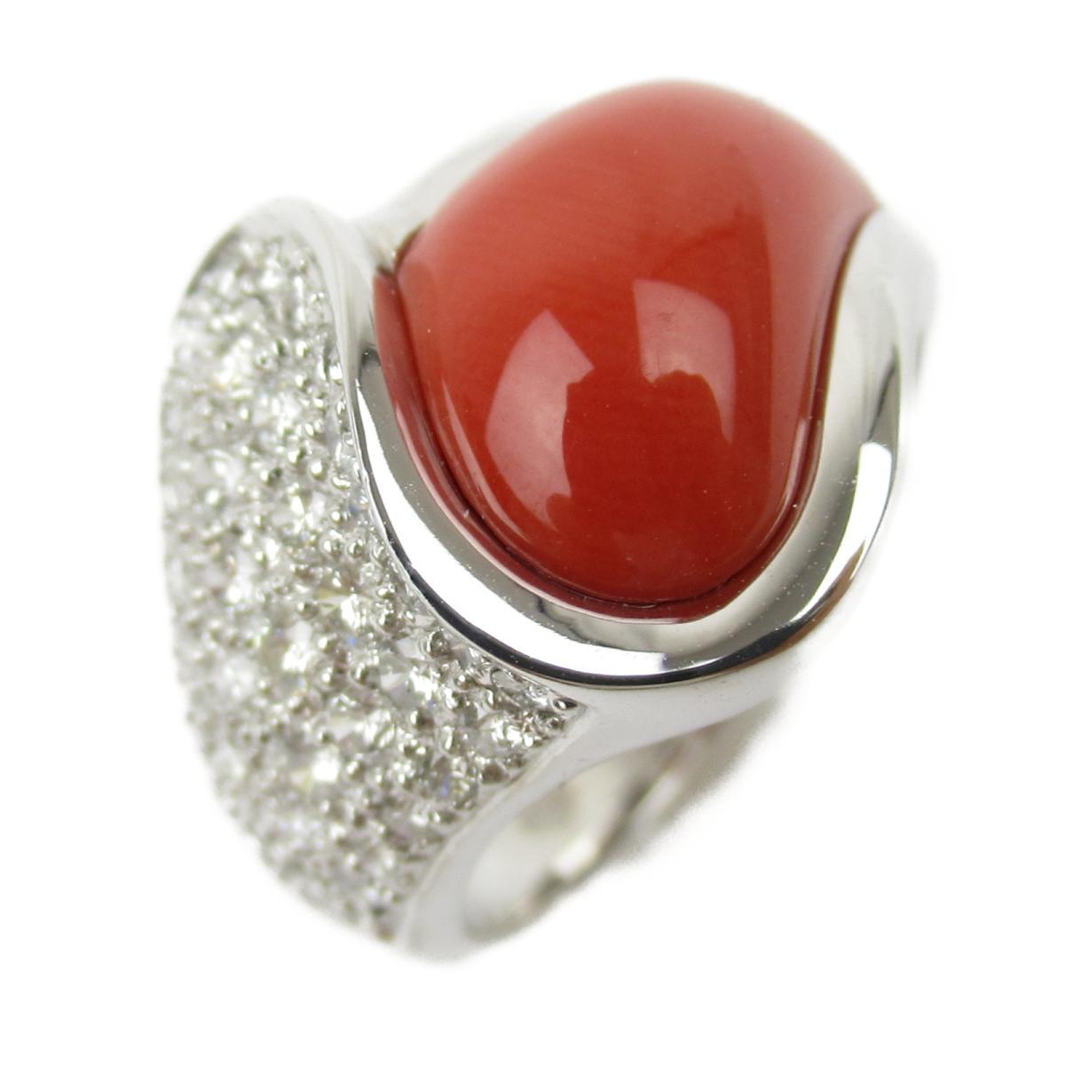 ジュエリー サンゴダイヤモンド リング 指輪 ノーブランドジュエリー レディース K18WG (750) ホワイトゴールド x サンゴ ダイヤモンド0.59ct 【中古】 | JEWELRY BRANDOFF ブランドオフ アクセサリー