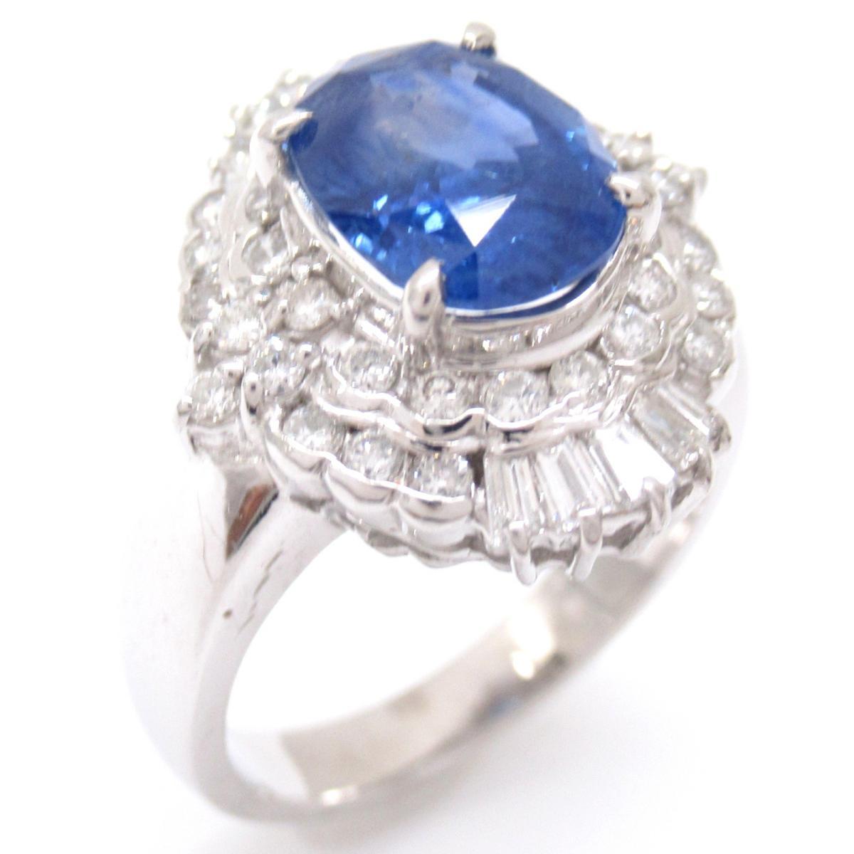ジュエリー サファイアリング 指輪 ノーブランドジュエリー レディース PT900 プラチナxサファイア2.24ctxダイヤモンド0.62ct ブルー 【中古】 | JEWELRY BRANDOFF ブランドオフ アクセサリー リング