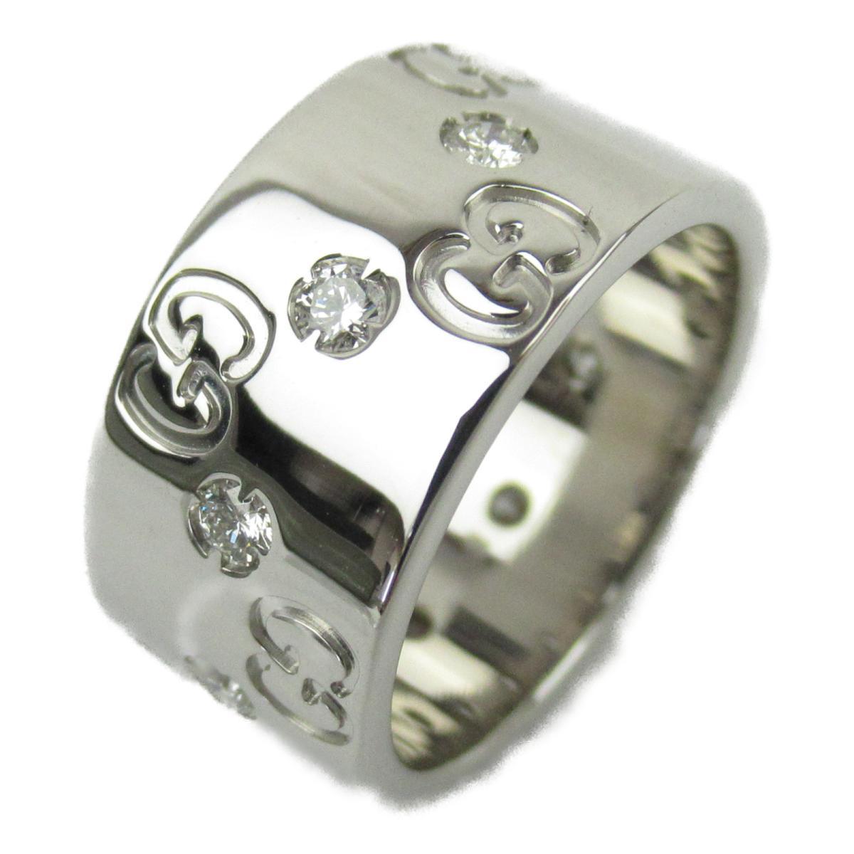 グッチ アイコン ダイヤモンド リング 指輪 ブランドジュエリー レディース K18WG (750) ホワイトゴールド x 【中古】 | GUCCI BRANDOFF ブランドオフ ブランド ジュエリー アクセサリー