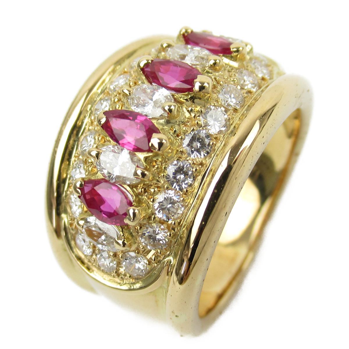 ジュエリー ルビー ダイヤモンド リング 指輪 ノーブランドジュエリー レディース K18YG (750) イエローゴールド x ルビー0.68/ダイヤモンド0.88ct 【中古】 | JEWELRY BRANDOFF ブランドオフ アクセサリー