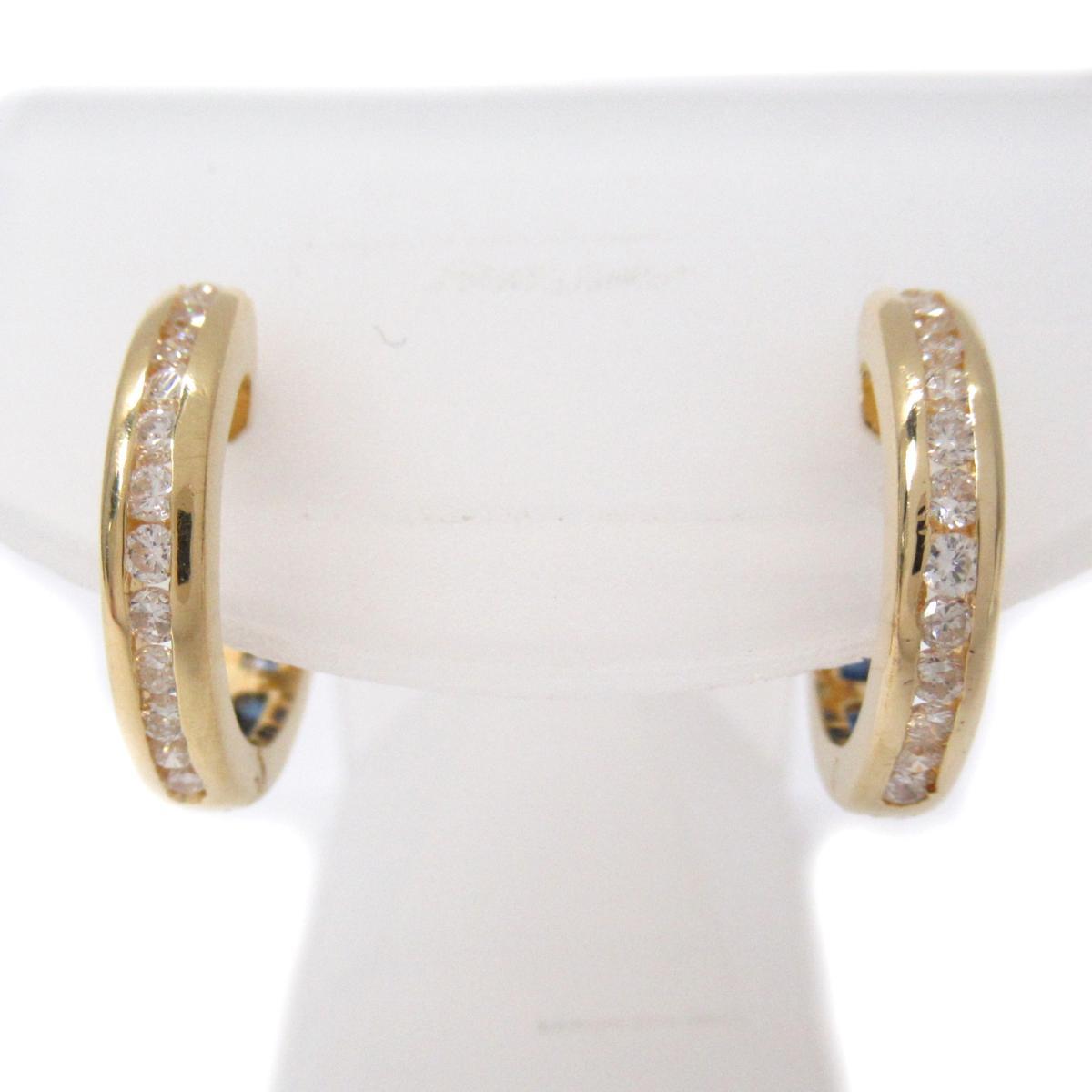 ジュエリー ダイヤモンド サファイア ピアス ノーブランドジュエリー レディース K18YG (750) イエローゴールドxサファイアxダイヤモンド (石目なし) ブルーxクリアーxゴールド 【中古】 | ブランド