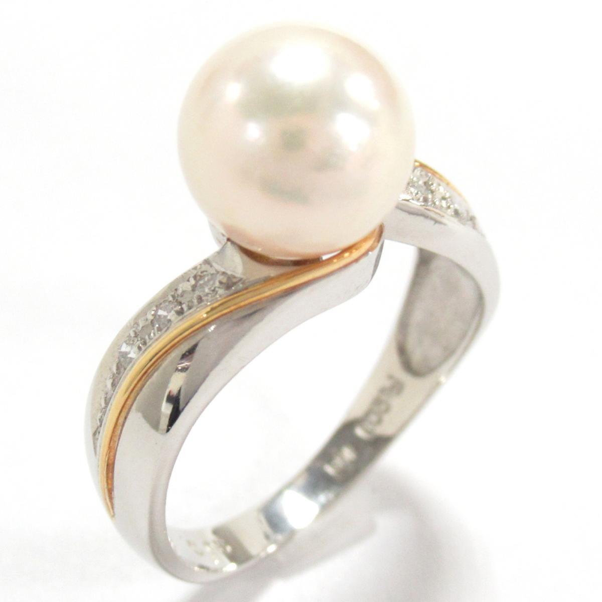 ジュエリー パールリング 指輪 ノーブランドジュエリー レディース K18YG (750) イエローゴールドxPT900プラチナxパール8.5mmxダイヤモンド0.06ct ホワイト 【中古】 | ブランド