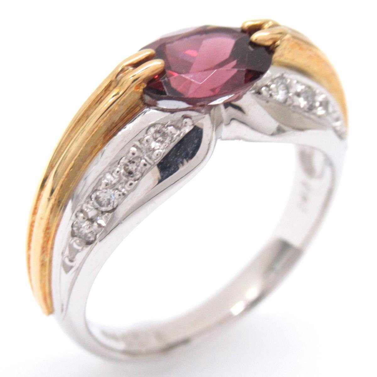 ジュエリー ロードライトガーネットリング 指輪 ノーブランドジュエリー レディース K18YG (750) イエローゴールドxPT900プラチナxロードライトガーネット1.4ctxダイヤモンド 【中古】 | ブランド