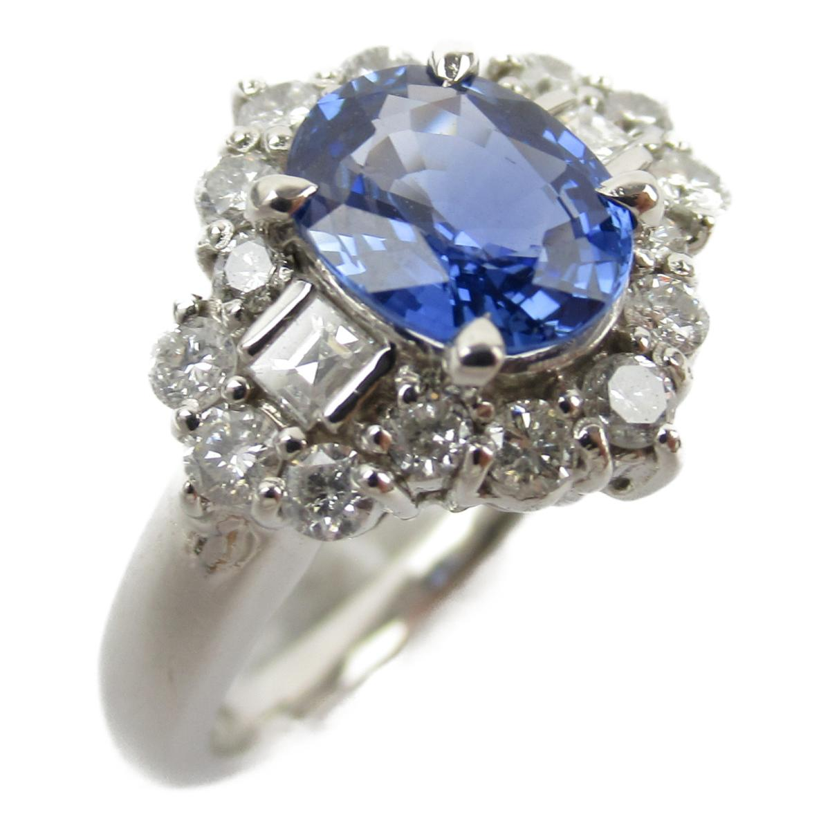 ジュエリー サファイア ダイヤモンド リング 指輪 ノーブランドジュエリー レディース PT900 プラチナ x サファイア1.44/ダイヤモンド0.57ct (サファイア 7.4g) 【中古】 | ブランド