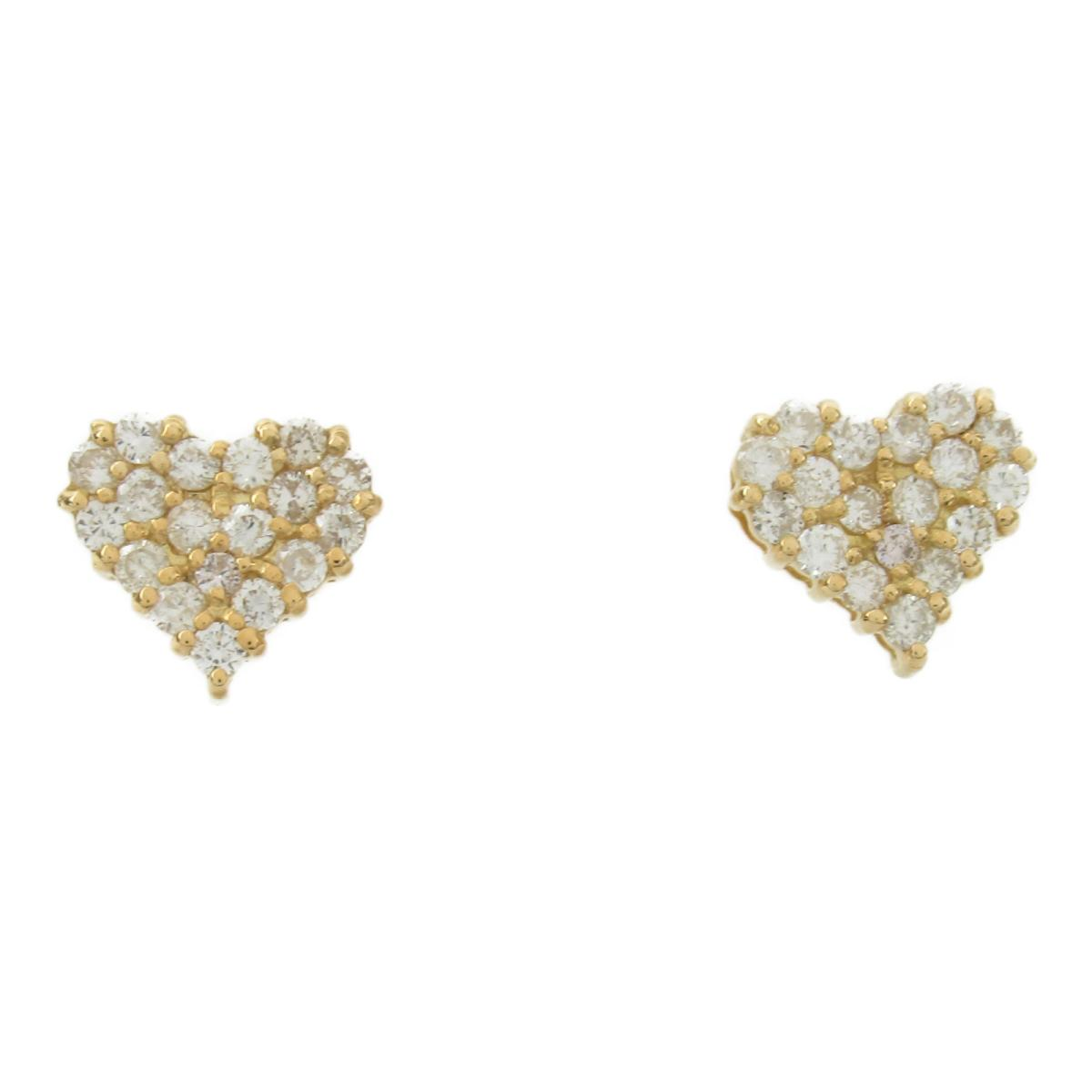 ジュエリー ハート ダイヤモンド ピアス ノーブランドジュエリー レディース K18YG (750) イエローゴールド x ダイヤモンド0.30ct*2 【中古】   JEWELRY BRANDOFF ブランドオフ アクセサリー