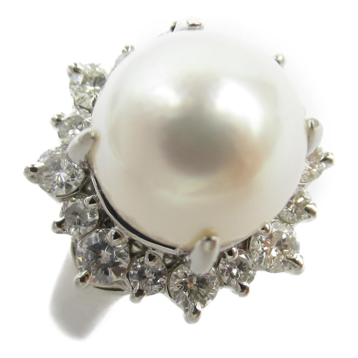 ジュエリー アコヤパール ダイヤモンド リング 指輪 ノーブランドジュエリー レディース PT900 プラチナ x パール約9mm ダイヤモンド0.59ct 【中古】 | JEWELRY BRANDOFF ブランドオフ アクセサリー