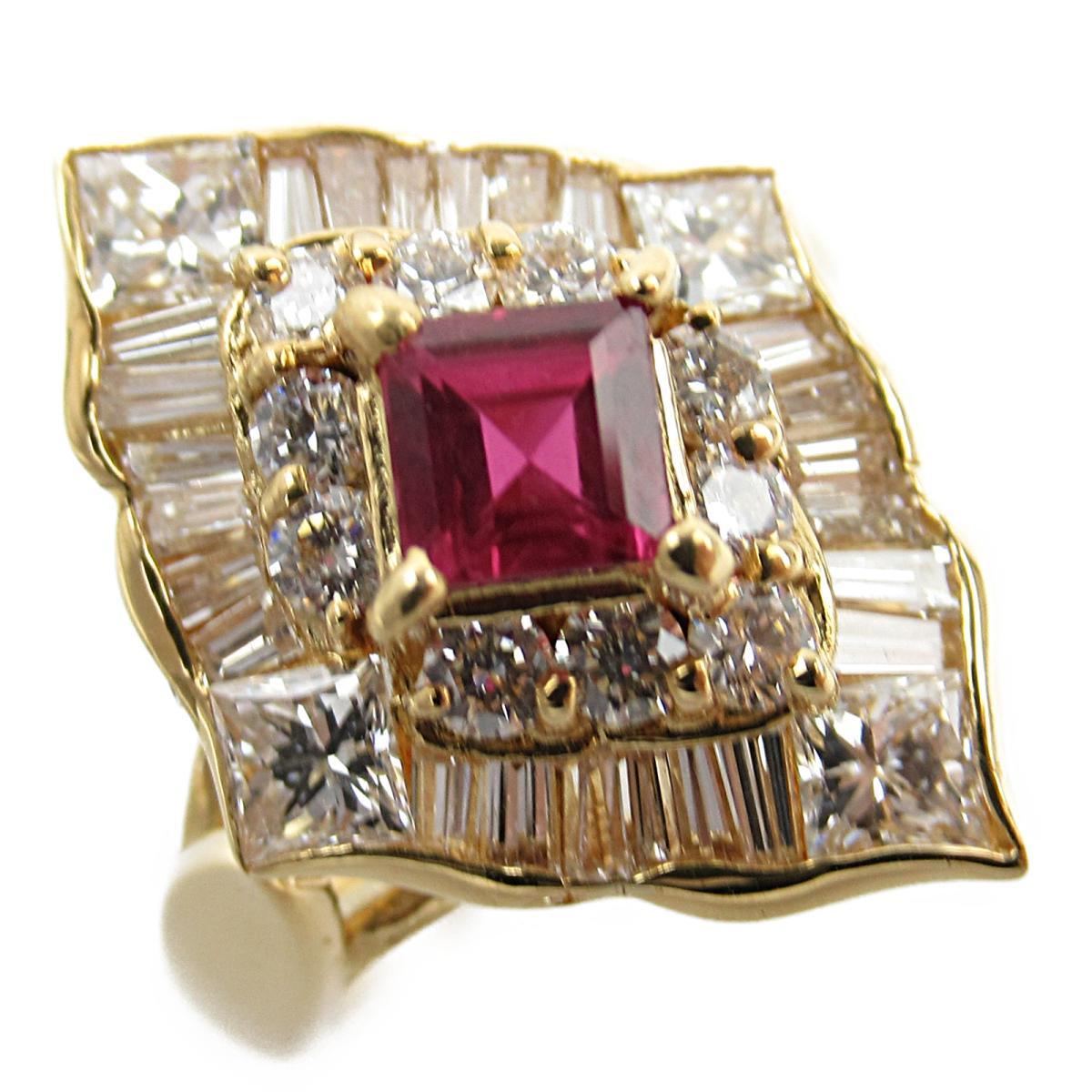 ジュエリー ルビー ダイヤモンド リング 指輪 ノーブランドジュエリー レディース K18YG (750) イエローゴールド x ルビー0.48/ダイヤモンド1.35ct 【中古】 | JEWELRY BRANDOFF ブランドオフ アクセサリー