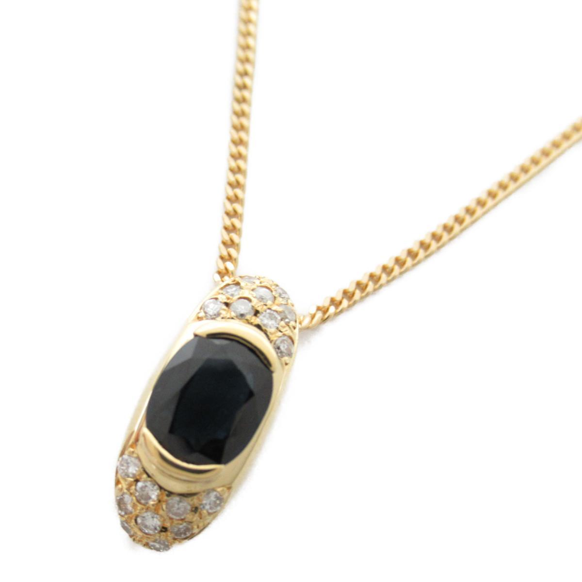 ジュエリー サファイア ダイヤモンド ネックレス ノーブランドジュエリー レディース K18YG (750) イエローゴールド x サファイア1.64/ダイヤモンド0.24ct 【中古】 | ブランド