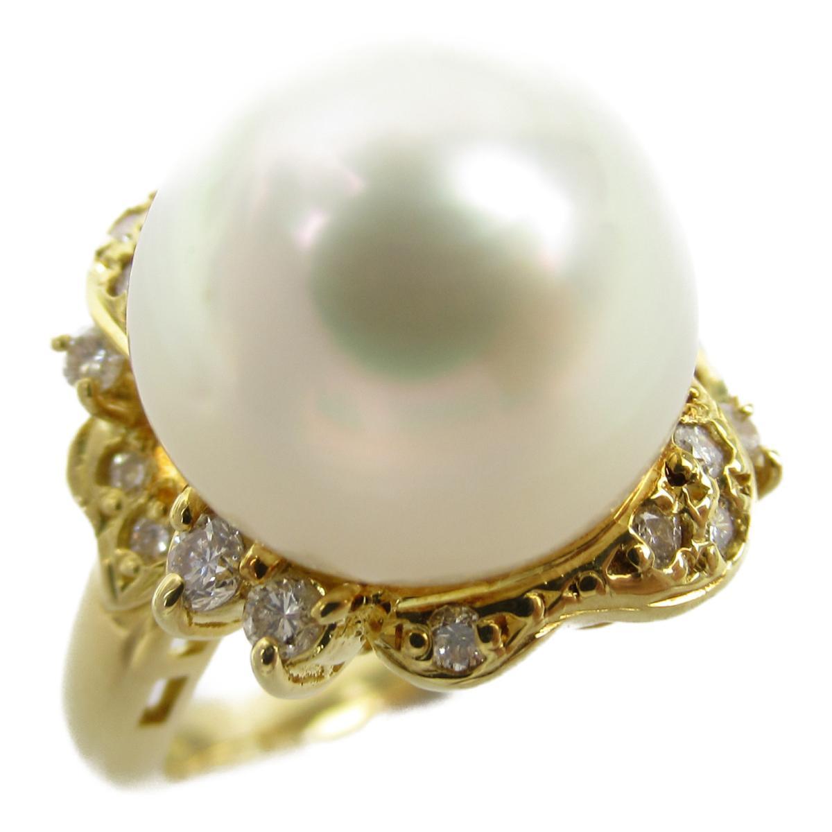 ジュエリー パール ダイヤモンド リング 指輪 ノーブランドジュエリー レディース K18YG (750) イエローゴールド x パール11.7mm 0.27ct 【中古】 | JEWELRY BRANDOFF ブランドオフ アクセサリー