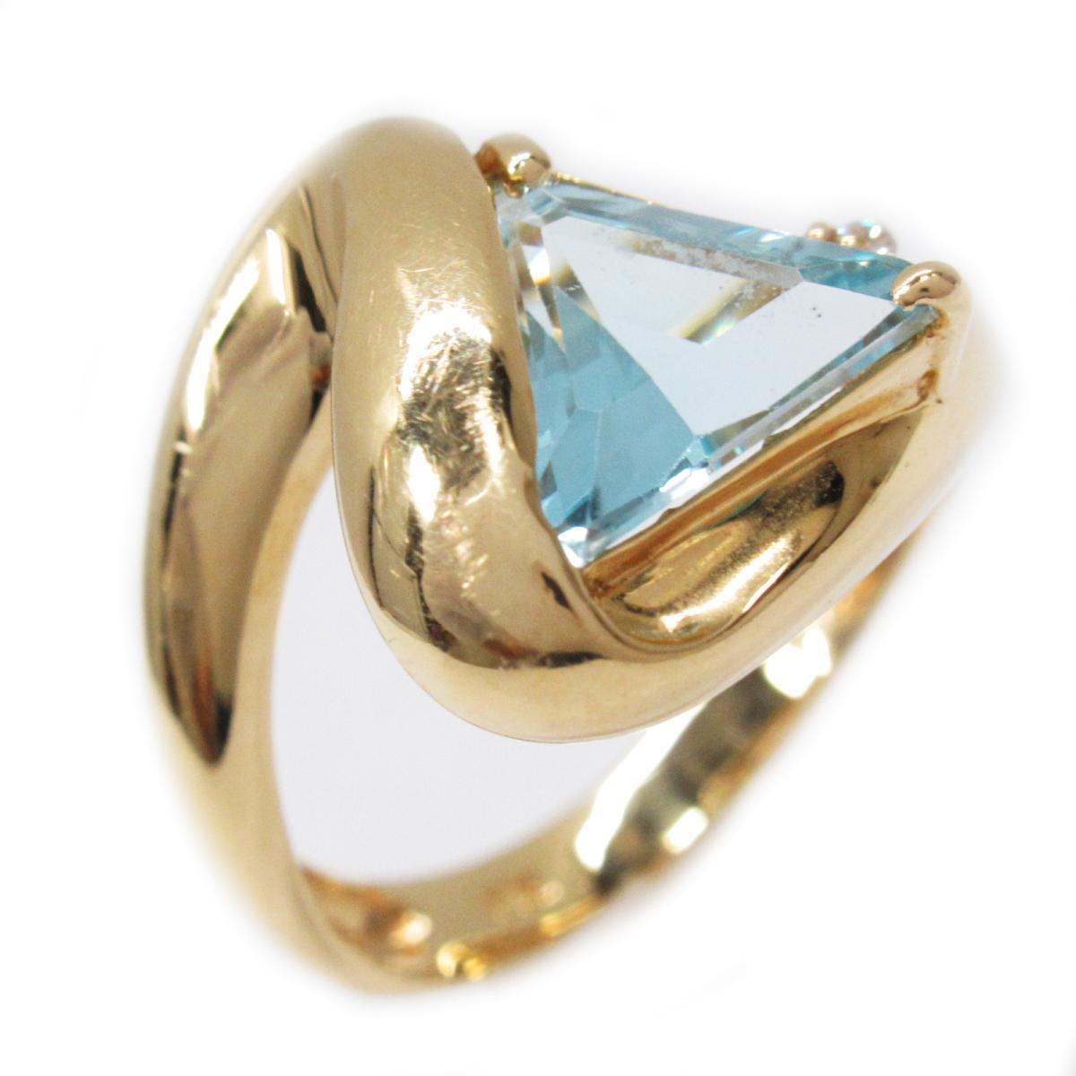 ジュエリー ブルートパーズリング 指輪 ノーブランドジュエリー レディース K18YG (750) イエローゴールドxブルートパーズ (石目なし) ブルーxゴールド 【中古】 | ブランド