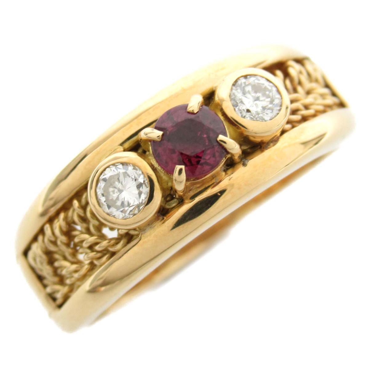 ソニア・リキエル ルビー ダイヤモンド リング 指輪 ブランドジュエリー レディース K18YG (750) イエローゴールド x ルビー0.20ct ダイヤモンド0.33ct 【中古】 | ブランド