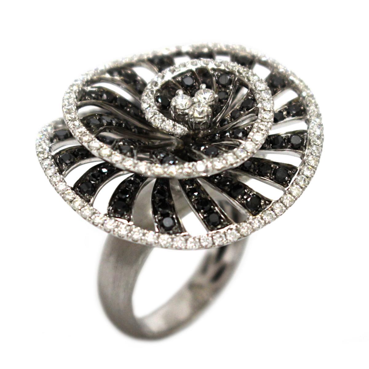 ジュエリー ブラックダイヤモンド リング 指輪 レディース K18WG (750) ホワイトゴールド x ダイヤモンド (3.36ct) ブラック クリアー 【中古】 | JEWELRY BRANDOFF ブランドオフ アクセサリー
