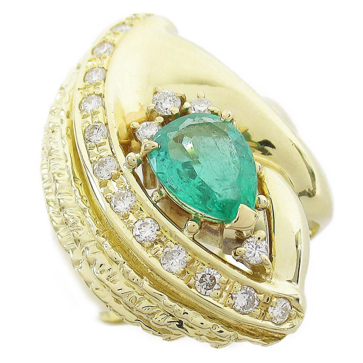 ジュエリー エメラルド ダイヤモンド リング 指輪 ノーブランドジュエリー レディース 18Kイエローゴールド x エメラルド1.25ct ダイヤモンド0.40ct 【中古】 | JEWELRY BRANDOFF ブランドオフ アクセサリー