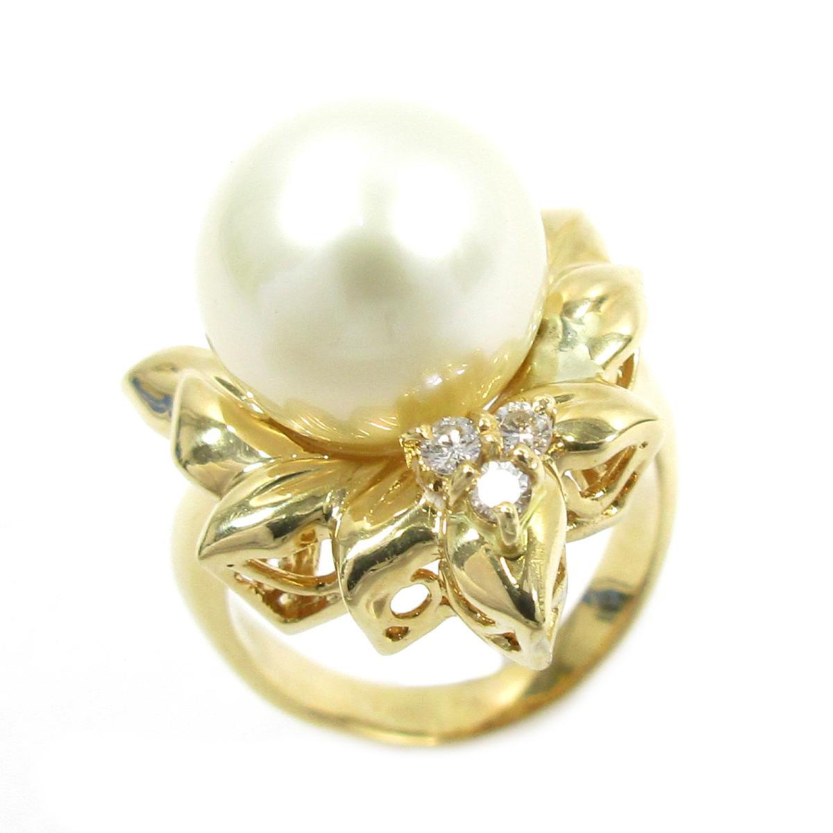 ジュエリー パールリング 指輪 ノーブランドジュエリー レディース K18YG (750) イエローゴールド X パール11.3mm ダイヤモンド0.09ct ゴールド クリアー ホワイト 【中古】 | ブランド