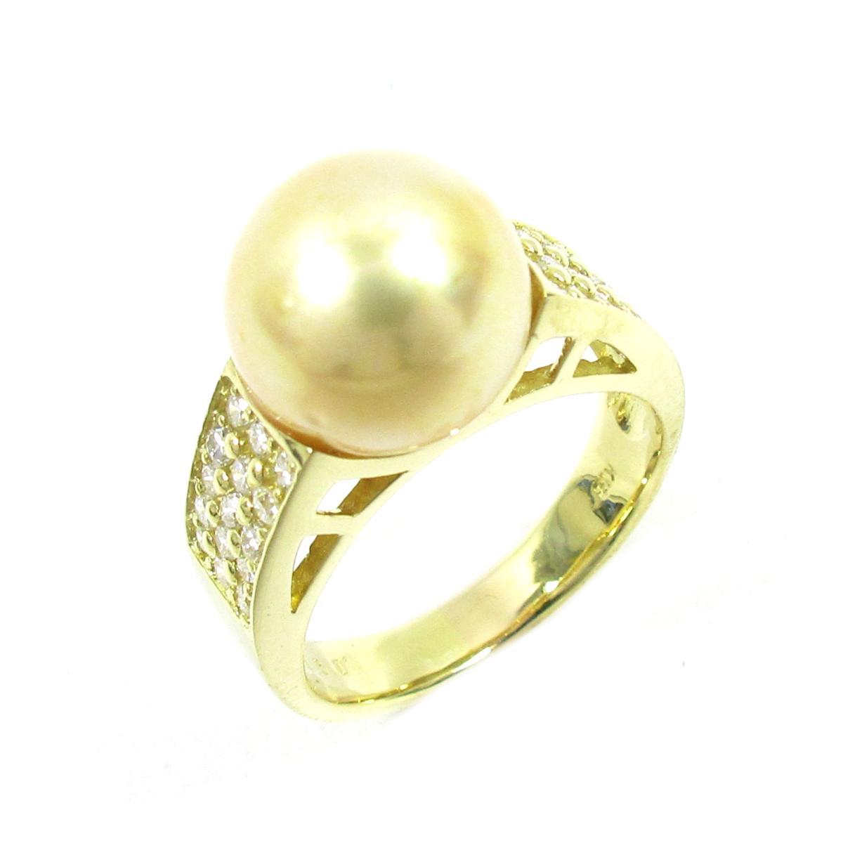 ジュエリー パールリング 指輪 ノーブランドジュエリー レディース K18YG (750) イエローゴールド X パール10.8mm ダイヤモンド0.50ct ゴールド クリアー 【中古】 | ブランド