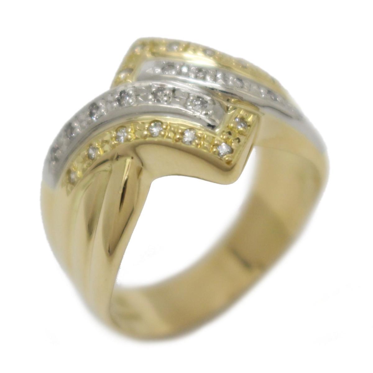 ジュエリー ダイヤモンド リング 指輪 ノーブランドジュエリー レディース K18YG (750) イエローゴールドPT900 プラチナダイヤモンド (0.15ct) 【中古】 | JEWELRY BRANDOFF ブランドオフ アクセサリー