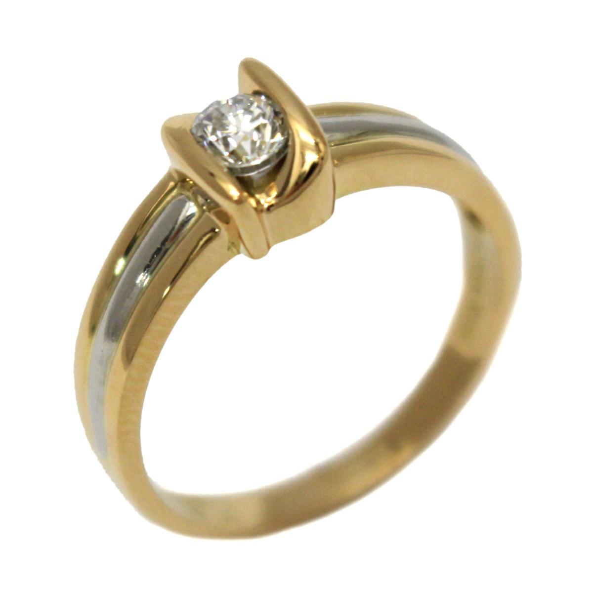 ジュエリー ダイヤモンド リング 指輪 ノーブランドジュエリー レディース K18YG (750) イエローゴールドPT900 プラチナダイヤモンド (0.23ct) 【中古】 | JEWELRY BRANDOFF ブランドオフ アクセサリー