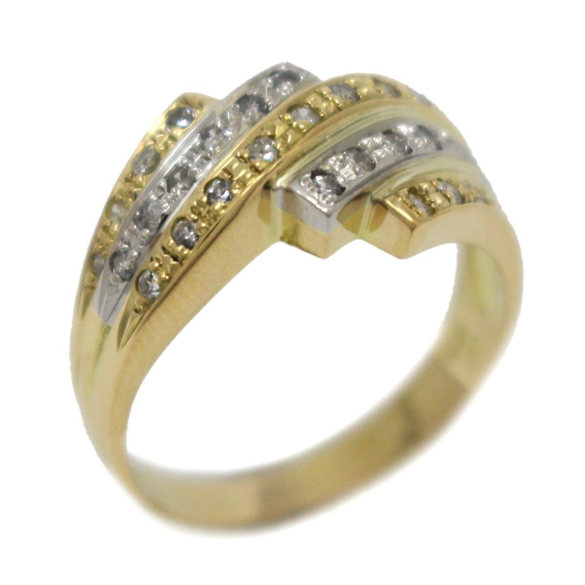 ジュエリー ダイヤモンド リング 指輪 ノーブランドジュエリー レディース K18YG (750) イエローゴールドPT900 プラチナダイヤモンド (0.35ct) 【中古】   JEWELRY BRANDOFF ブランドオフ アクセサリー