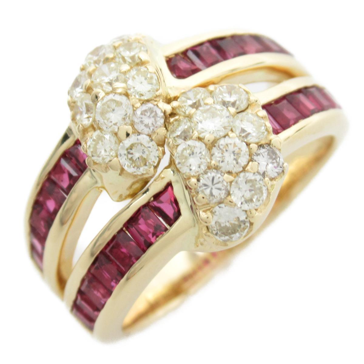 ジュエリー ルビー ダイヤモンド リング 指輪 ノーブランドジュエリー レディース 18Kイエローゴールド x ルビー1.50CT ダイヤモンド0.84CT 【中古】 | JEWELRY BRANDOFF ブランドオフ アクセサリー