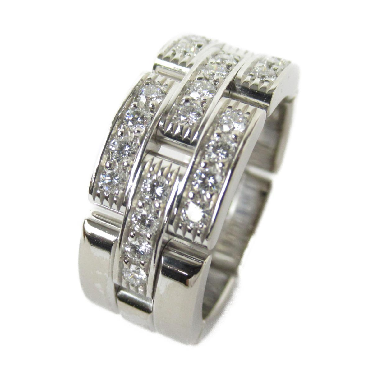 カルティエ マイヨンパンテールリング ハーフダイヤモンド リング 指輪 ブランドジュエリー レディース K18WG (750) ホワイトゴールド x ダイヤモンド 【中古】 | ブランド