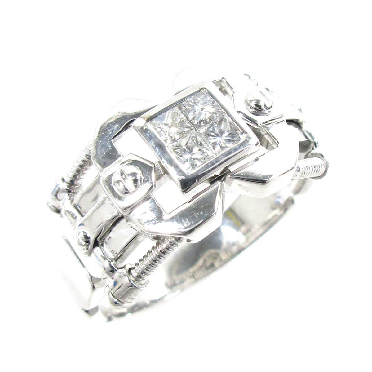 ジュエリー ダイヤモンドリング 指輪 ノーブランドジュエリー メンズ レディース K18WG (750) ホワイトゴールド X ダイヤモンド0.45ct シルバー クリアー 【中古】   JEWELRY BRANDOFF ブランドオフ アクセサリー リング