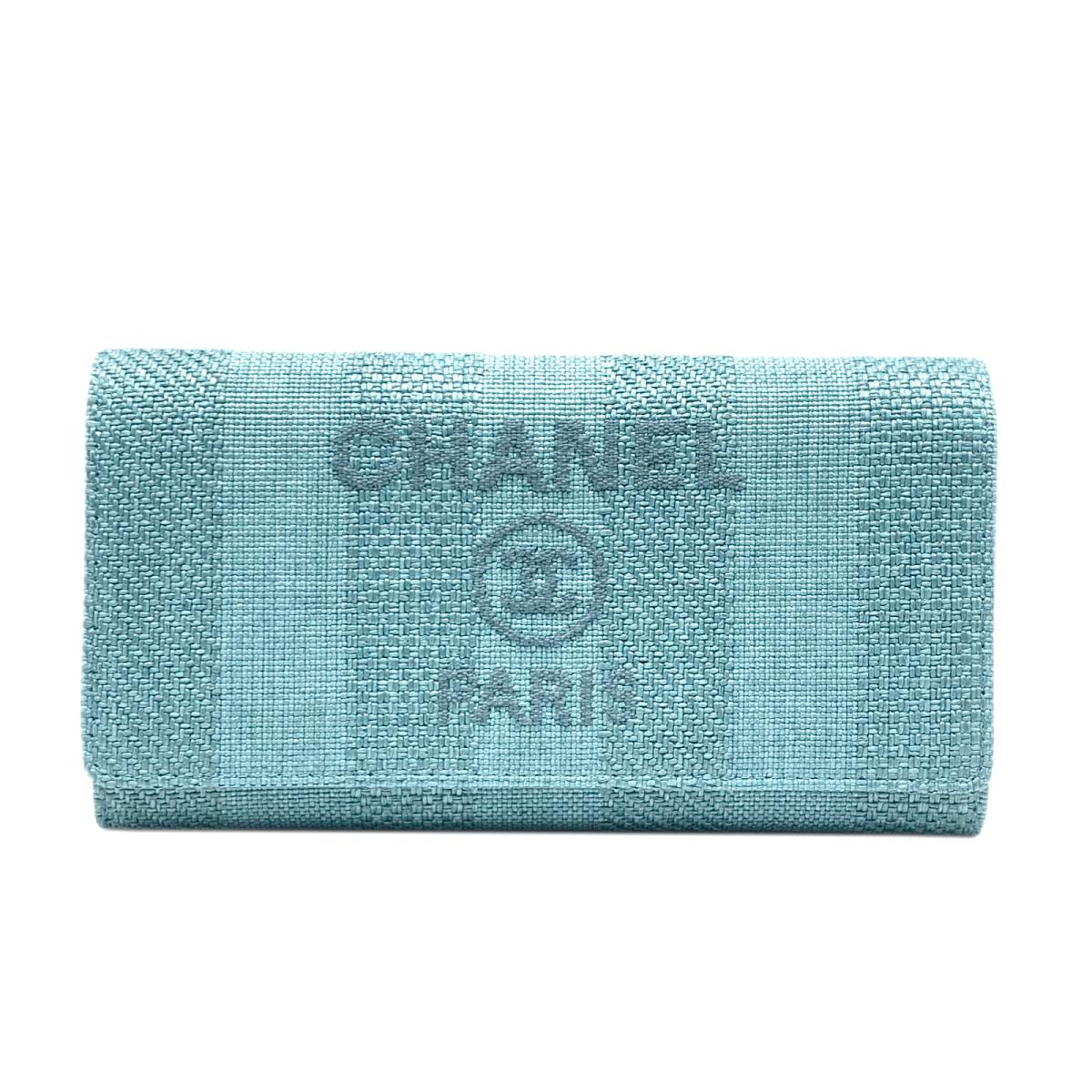 シャネル ドーヴィル ロング フラップ ウォレット 二つ折り 長財布 財布 レディース キャンバス x カーフスキン ライトブルー (A81976)   CHANEL BRANDOFF ブランドオフ ブランド ブランド財布 レディース財布 サイフ