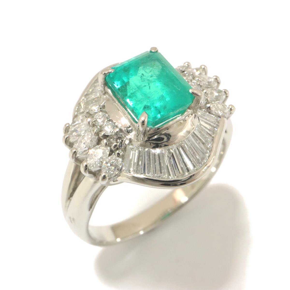 【中古】ジュエリー エメラルド リング 指輪 ノーブランドジュエリー レディース PT850 プラチナ x エメラルド(1.39ct) x ダイヤモンド(1.05ct) グリーン x クリアー x シルバー