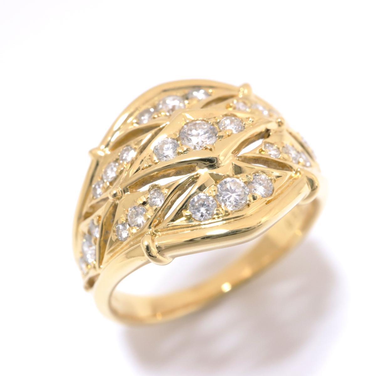 【中古】ジュエリー ダイヤモンド リング 指輪 ノーブランドジュエリー レディース K18YG(750) イエローゴールド x ダイヤモンド(0.52ct) クリアー x ゴールド