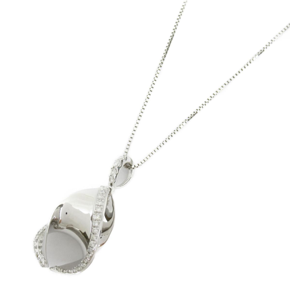 【中古】ジュエリー ダイヤモンド ネックレス ノーブランドジュエリー レディース 18Kホワイトゴールド x ダイヤモンド0.32CT