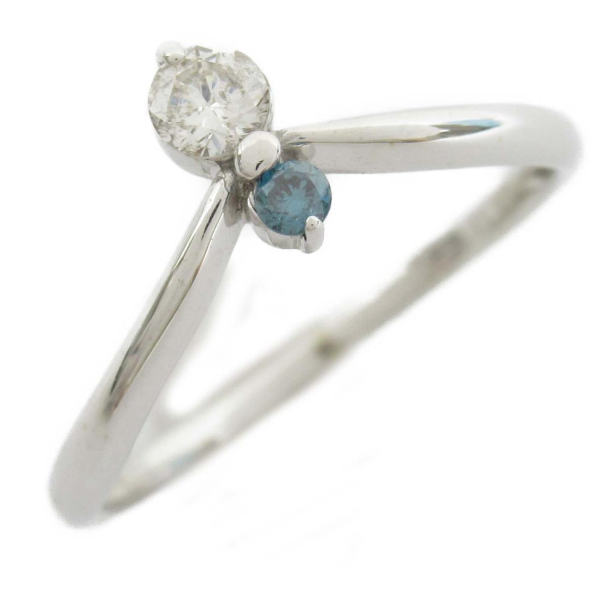 【中古】ジュエリー ブルーダイヤ ダイヤモンド リング 指輪 ノーブランドジュエリー レディース 18Kホワイトゴールド x ダイヤモンド0.15CT