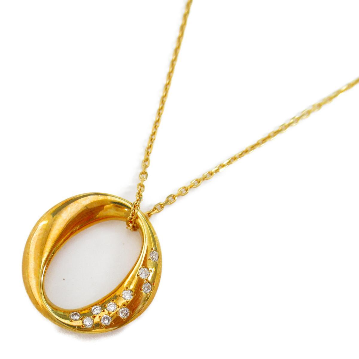 【中古】ジュエリー ダイヤモンド ネックレス ノーブランドジュエリー レディース K18YG(750) イエローゴールド x ダイヤモンド0.10ct x K18(イエローゴールド)