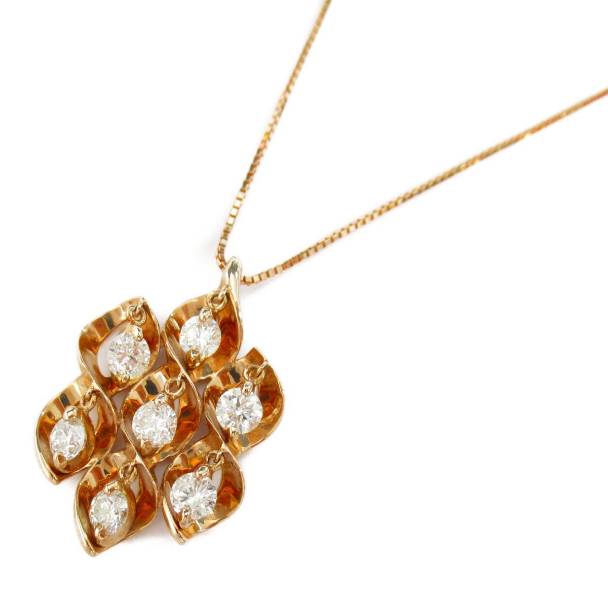 【中古】ジュエリー ダイヤモンド ネックレス ノーブランドジュエリー レディース ダイヤモンド1.00ct x K18PG(ピンクゴールド)