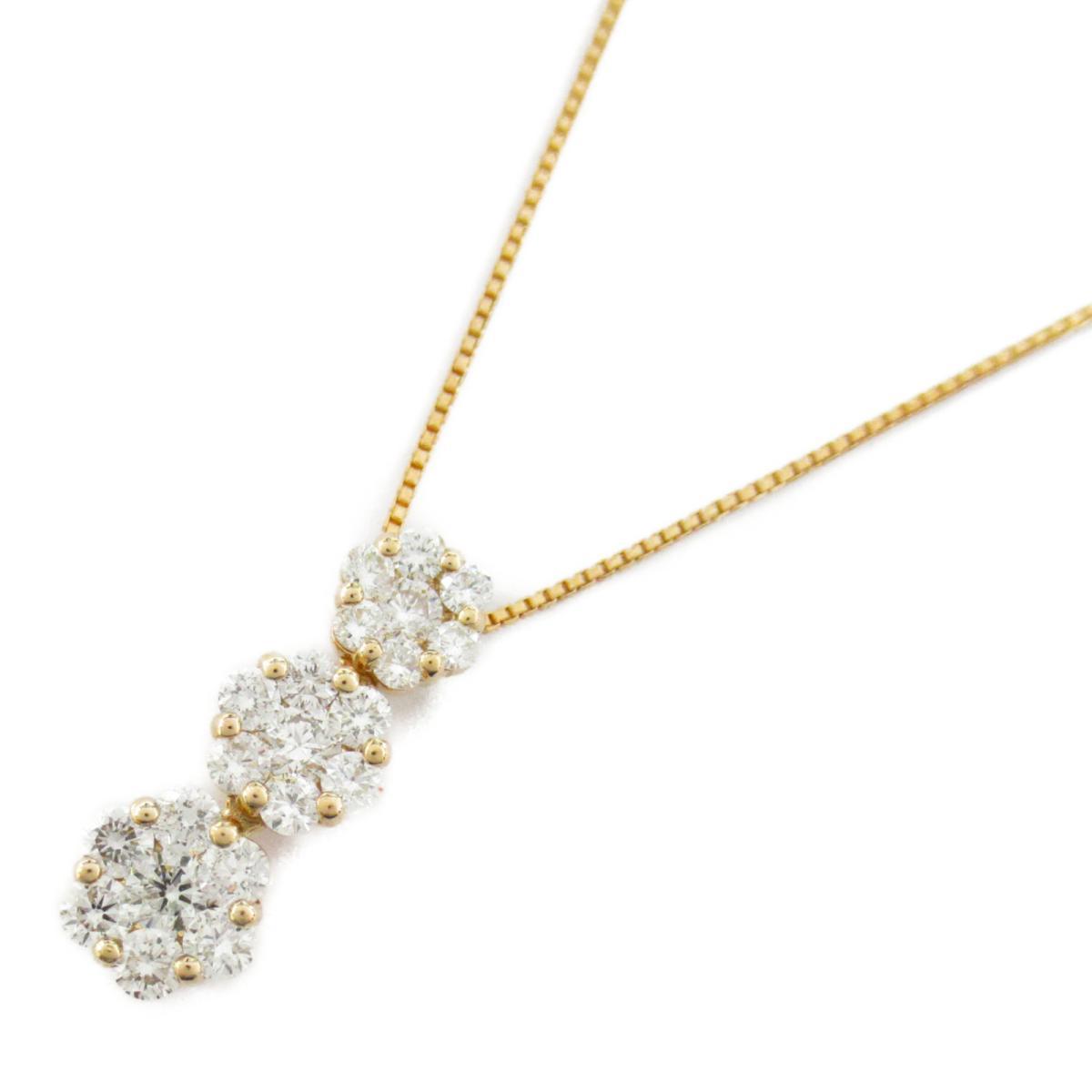 【中古】ジュエリー ダイヤモンド ネックレス ノーブランドジュエリー レディース K18PG(750) ピンクゴールド x ダイヤモンド1..50ct