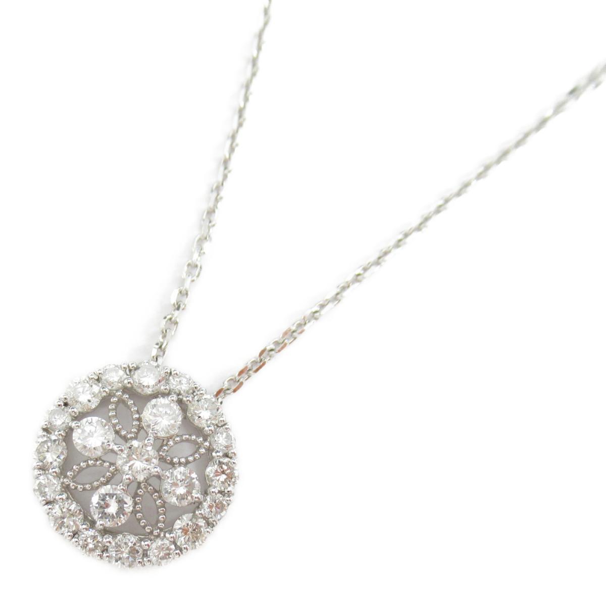 【中古】ジュエリー ダイヤモンド ネックレス ノーブランドジュエリー レディース PT900 プラチナ x ダイヤモンド1.00ct x K18WG(ホワイトゴールド)