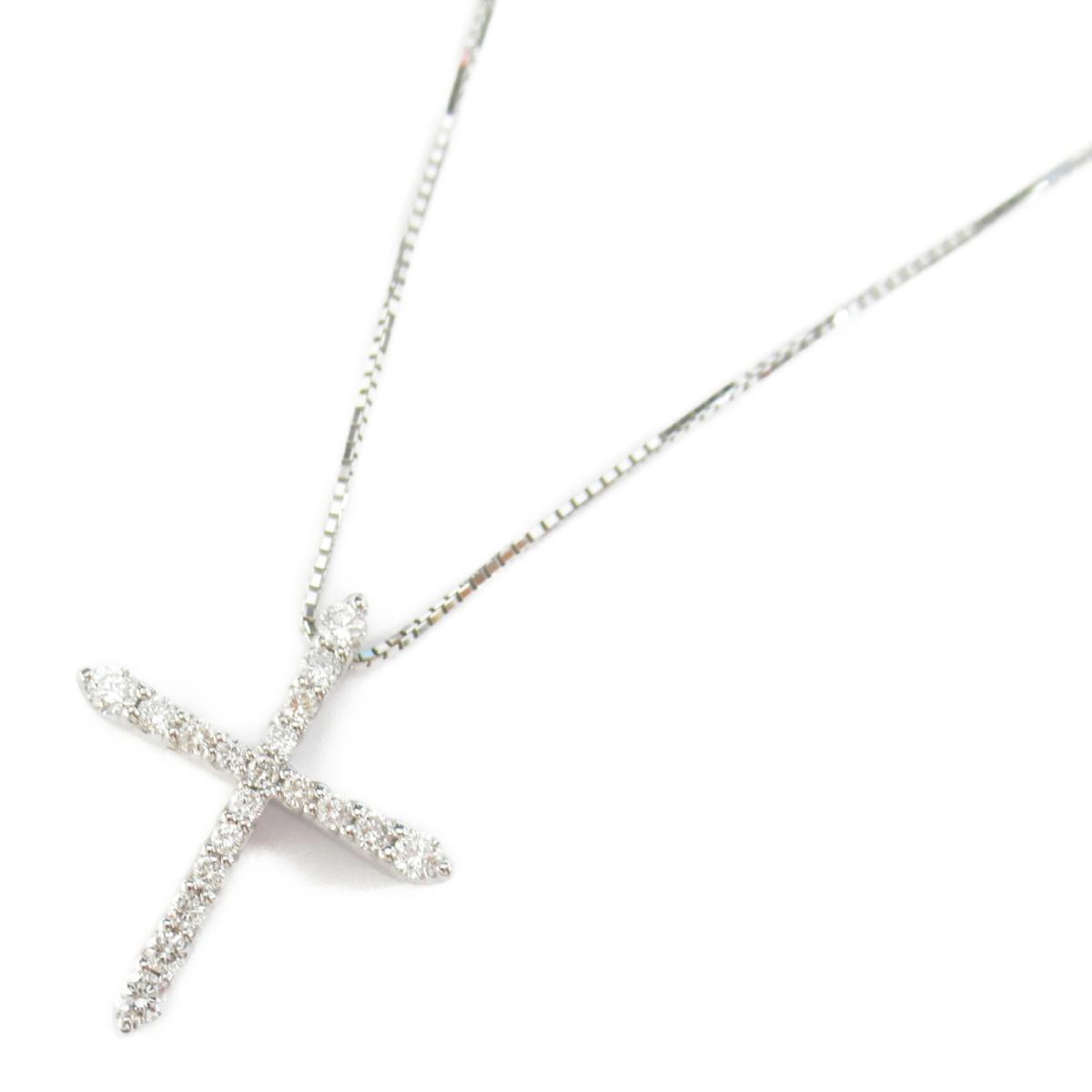 【中古】ジュエリー ダイヤモンド ネックレス ノーブランドジュエリー レディース ダイヤモンド0.30ct x K18WG(ホワイトゴールド)