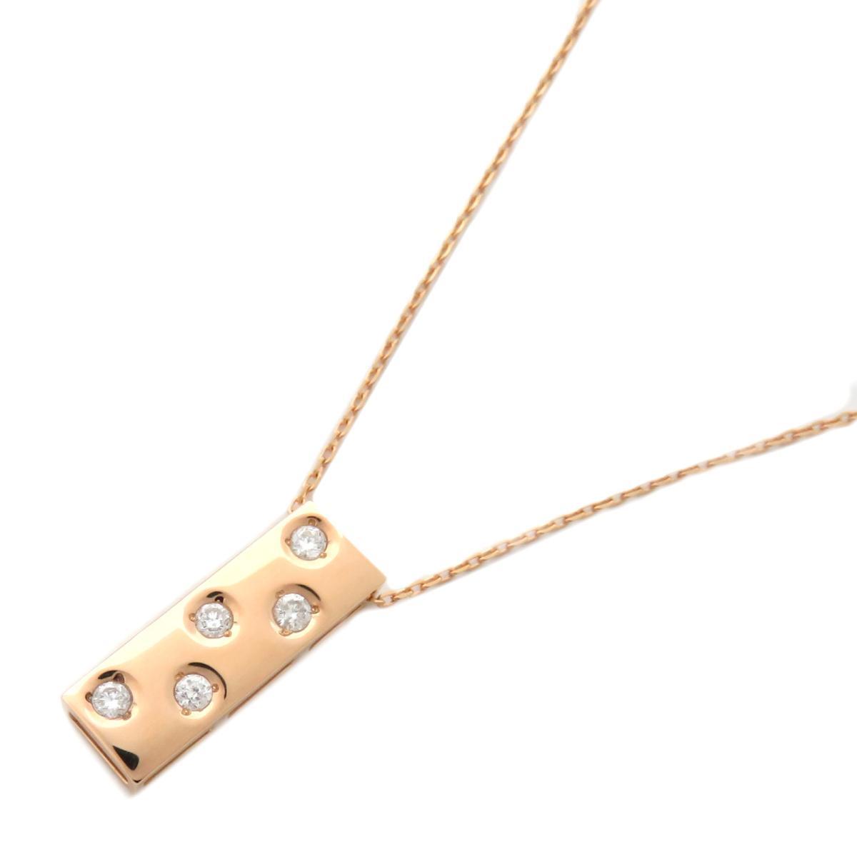 【中古】ジュエリー ダイヤモンド ネックレス ノーブランドジュエリー レディース K18PG(750) ピンクゴールド × ダイヤモンド(0.13ct)