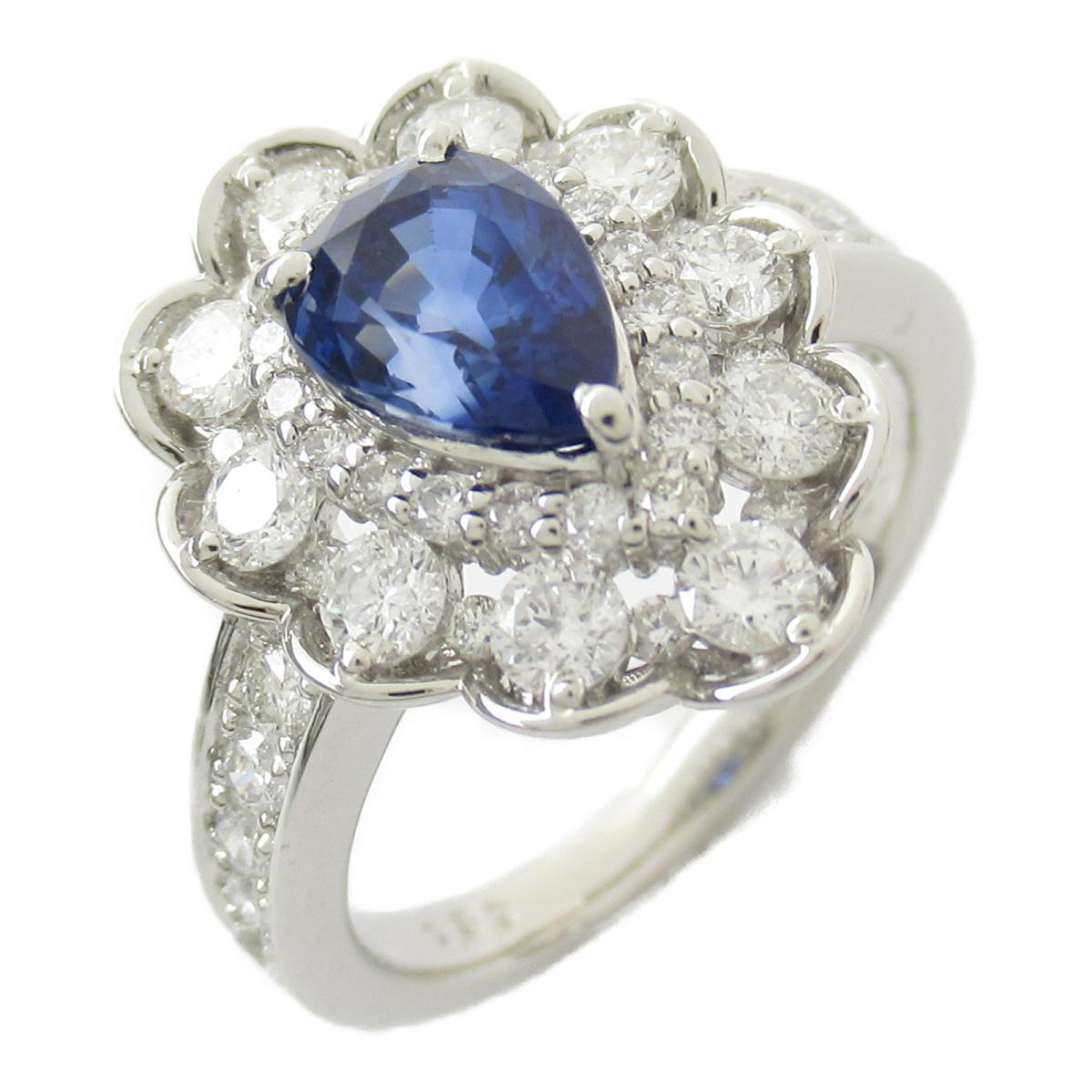【中古】ジュエリー ブルーサファイア ダイヤモンド リング 指輪 ノーブランドジュエリー レディース PT900 プラチナ x サファイア1.59/ダイヤモンド1.09ct