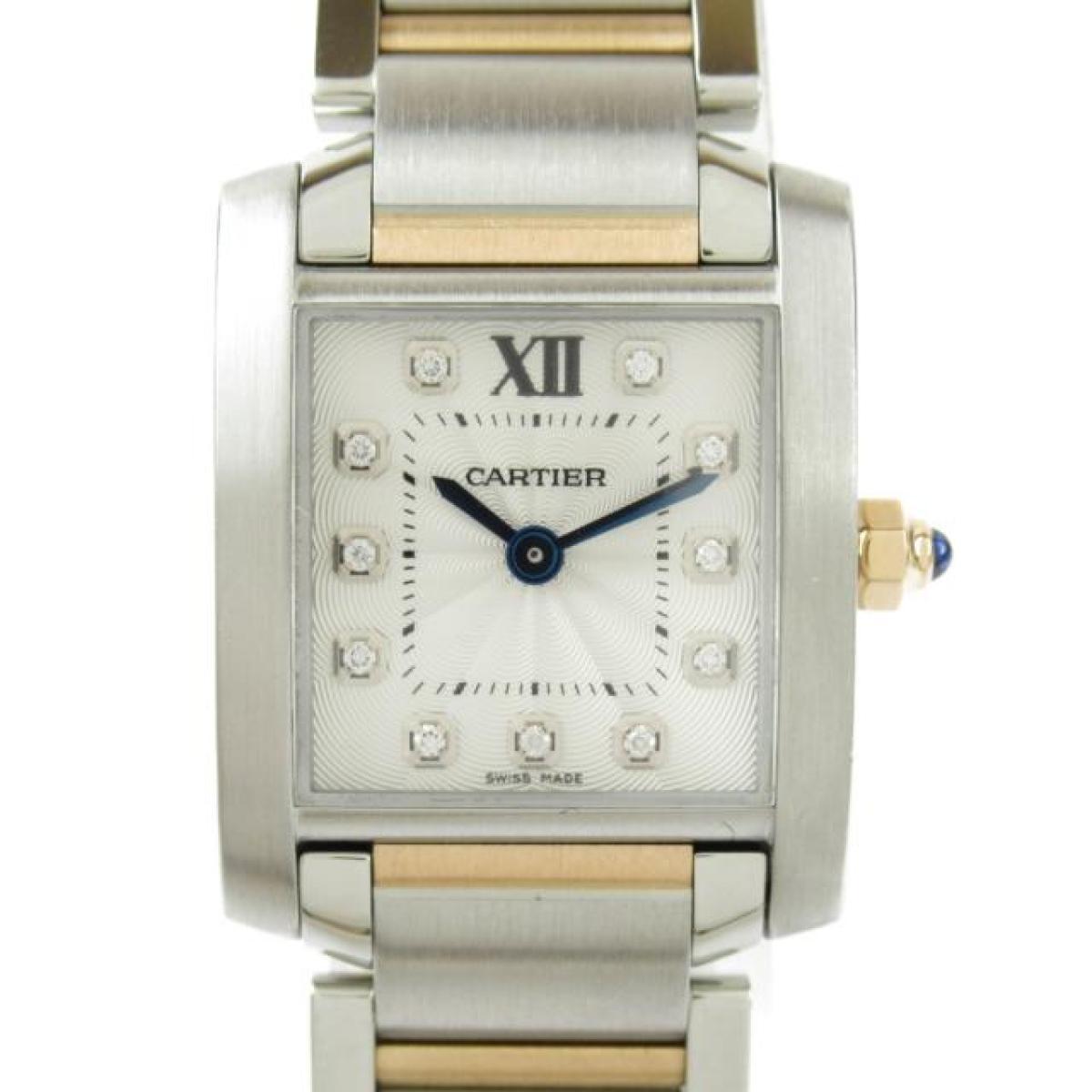 Cartier タンクフランセーズ SM 11Pダイヤモンド 腕時計 ウォッチ 時計 ランクA キャンペーンもお見逃しなく 送料無料 ブランドオフ 誕生日 プレゼント SS ギフト レディース xK18ピンクゴールドxダイヤモンド WE110004 シルバーxピンクゴールド カルティエ 数量は多 中古 ステンレススチール