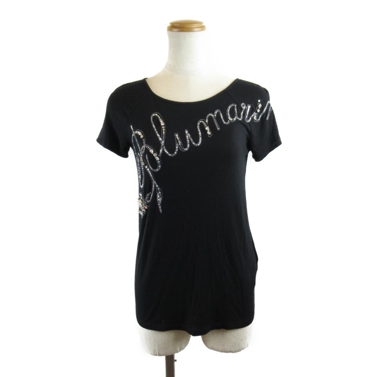 激安セール BLUMARINE Tシャツ 衣料品 ランクA ブランドオフ 誕生日 プレゼント ギフト 出群 レーヨン ブラック ラインストーン レディース x xポリウレタン 中古 ブルマリン
