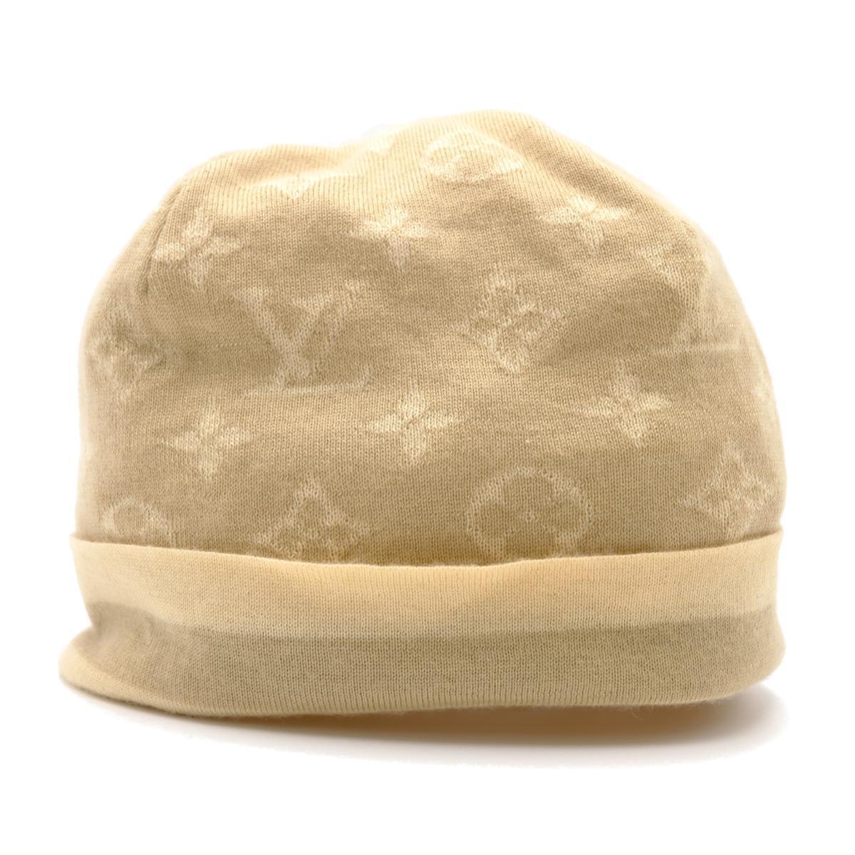 [ルイ・ヴィトン][ニットキャップ][ランクB][ブランドオフ] ルイ・ヴィトン LOUIS VUITTON ニットキャップ 帽子 ニットキャップ 帽子 シルク カシミヤ x シルク レディース ベージュ系 ブラウン x ベージュ 【中古】