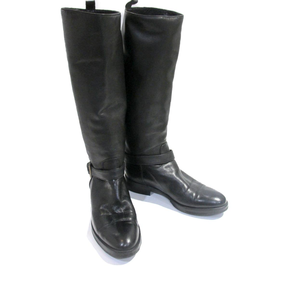 40%OFFの激安セール シャネル ブーツ ランクB ブランドオフ 爆買い送料無料 8 9から 最大2万円OFFクーポン 全品ポイント2倍 レザーレディース ブラック 中古 ブラック系 CHANEL ロングブーツ 靴