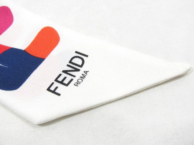 FENDI(펜디)/트이리스카후리본/스카프/화이트 멀티/실크 100%/[BRANDOFF/브랜드 오프]