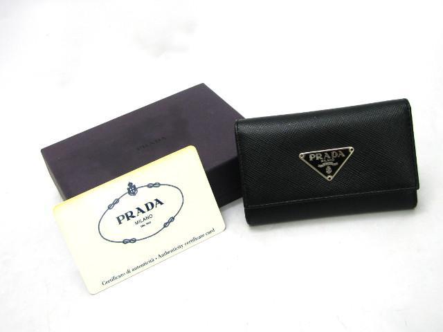 PRADA(프라다)/사피아노 6련키 케이스/키 케이스/NERO(블랙)×실버 쇠장식/소가죽(송아지 가죽)/(M222A)[BRANDOFF/브랜드 오프]