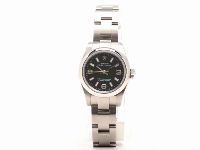 ROLEX(롤렉스)/오이스타파페츄알 손목시계 워치/쿼츠/블랙/스테인레스 스틸(SS)/(176200) [BRANDOFF/브랜드 오프]
