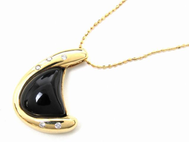 【送料無料】 JEWELRY(ジュエリー) オニキス ダイヤモンド ネックレス ネックレス K18YG(750) イエローゴールド x オニキス x ダイヤモンド0.05ct 【新品】 | JEWELRY ネックレス K18 18K 18金 ダイヤ ダイヤモンド 新品 ブランドオフ BRANDOFF ボーナス