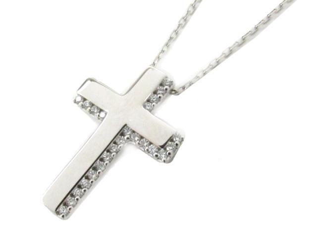 【中古】【送料無料】JEWELRY(ジュエリー) クロス ダイヤモンド ネックレス ネックレス K18WG(750) ホワイトゴールド x ダイヤモンド(0.10ct)   JEWELRY ネックレス ダイヤ ダイヤモンドネックレス ネックレス K18 18K 18金 ブランドオフ BRANDOFF 美品 ボーナス