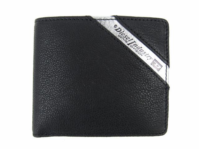 二つ折財布 ブラック x シルバーグレー レザー 【新品】(X03611P1221H6168)【新品】 | DIESEL 折財布 折り財布 サイフ ブランド財布 ブランドオフ BRANDOFF