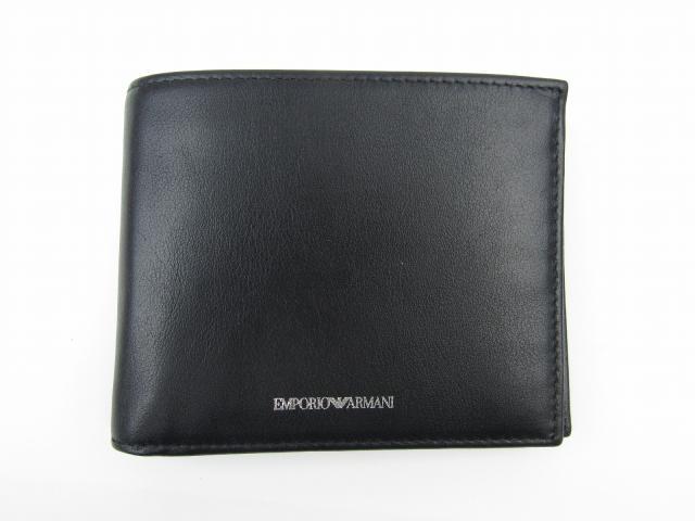 二つ折財布 ブラック 牛革(カーフ) 【新品】(YEM122YBV4E80001)【新品】   EMPORIO ARMANI 折財布 折り財布 サイフ ブランド財布 ブランドオフ BRANDOFF