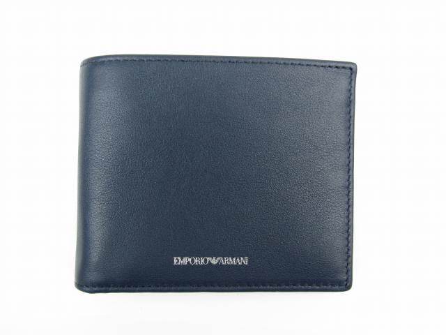 二つ折財布 ブルー 牛革(カーフ) 【新品】(YEM122YBV4E80013)【新品】 | EMPORIO ARMANI 折財布 折り財布 サイフ ブランド財布 ブランドオフ BRANDOFF